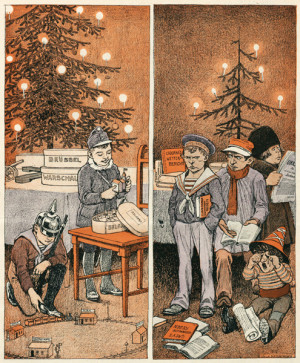 """Další z karikatur srovnávala vánoční nadílku obou znepřátelených táborů. Jedni se těší ze zisku tří metropolí a Orient Expresu, na druhé zbyly jen """"prázdné řeči""""."""