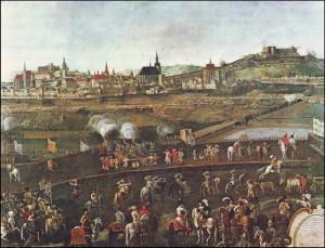 Výřez z veduty obléhání Brna Švédy v roce 1645 na obraze z brněnského muzea