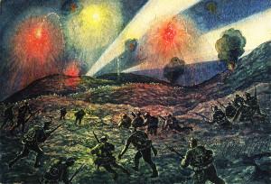 Nástup do bitevní linie na Hermadě v 10. sočské bitvě pohledem Jaroslava Brdy, vojáka pražského c. a k. pěšího pluku č. 28. (VHÚ)
