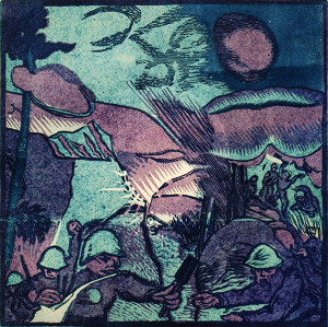 Útok – barevný dřevoryt z cyklu Fronta od Josefa Váchala (VHÚ)