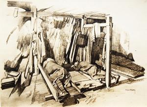 Pohled do interiéru jedné z ubikací na Krasu – na pryčnách spí kroměřížští domobranci (VHÚ)