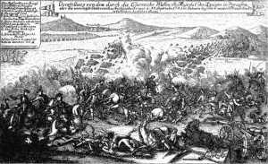 Dobová rytina bitvy u Žďáru 30. 9. 1745.