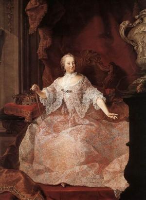 Uherská a česká královna (nesprávně označovaná jako císařovna) Marie Terezie.