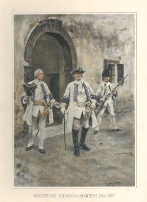 Rakouští důstojníci a granátník tzv. německé pěchoty (tj. odváděné v Předlitavsku).