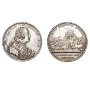 Pruská pamětní medaile bitvy – avers a revers.