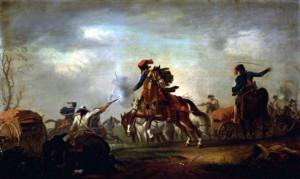 Zobrazení bojů v pruském táboře.