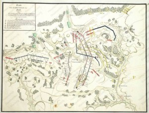 Dobová mapa s průběhem bitvy.