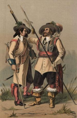 Vyobrazení císařských pěšáků mušketýra a důstojníka z konce 17. století datované o dvě století později