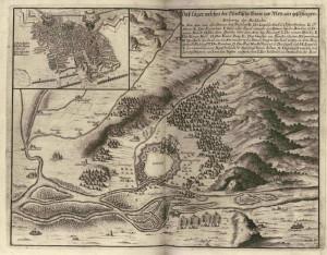 Mapka zachycující obéhání Vídně a turecký polní tábor, ve výřezu detail osmanských zákopů