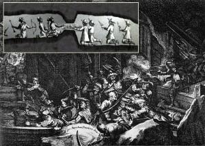 Dobové rytiny zobrazující minovou válku v podzemí