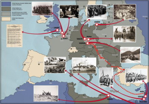 Mapa událostí příslušníka čs. zahraniční armády na Blízkém východě a v Africe