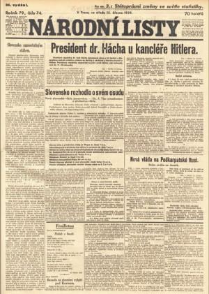 Titulní strana Národních listů z 15. 3. 1939