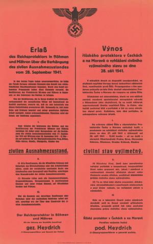 Výnos Reinharda Heydricha na jehož základě byly pozatýkány stovky důstojníků bývalé československé armády