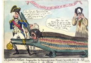Isaac Cruikshank: Udatný Nelson přivádí domů dva vzácné ohavné francouzské krokodýly, 1798. FOTO: © Trustees of the British Museum