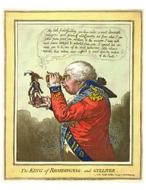 James Gillray: Král Brobdingnag a Gulliver, 1803. FOTO: © Trustees of the British Museum