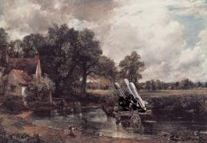 Jedno z Kennardových nejznámějších děl – reinterpretace olejomalby proslulého anglického krajináře Johna Constablea (1776–1837) Vůz na seno z roku 1821. Náklad sena vyměnil ve své montáži z roku 1981 Kennard za střely s plochou dráhou letu. Fotomontáží Constableova obrazu reagoval Kennard na mohutné protesty proti rozmístění střel s plochou dráhou letu na základně RAF Greenham Common. FOTO: © Peter Kennard, Original Photomontage Tate collection