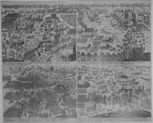Dobová rytina zachycující vlevo nahoře boje u Rakovníka