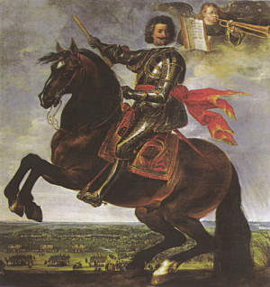 Císařský generalissimus Karel Bonaventura Longueval hrabě Buquoy, zde zobrazený jako vítěz z Bílé hory.