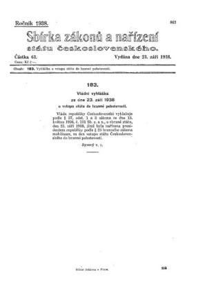 Vyhlášení branné pohotovosti státu 23. září 1938