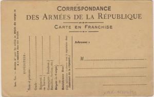 Korespondenční lístek francouzské polní pošty.