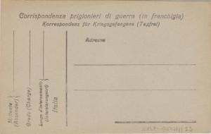 Korespondenční lístek zajatecké pošty v Itálii.