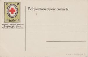Polní lístek rakousko-uherské armády s předtištěnou známkou.