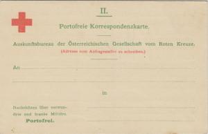 Korespondenční lístek Rakouského Červeného kříže, označení bezplatného zasílání je uvedeno přímo v názvu.