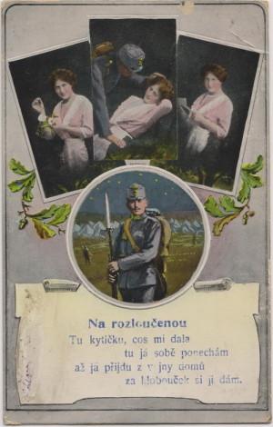 Motiv smutného odloučení při odchodu vojáka na frontu v kombinaci s působivými veršovánkami se na počátku války objevoval na pohlednicích velmi často.