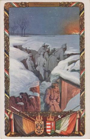 Oficiální rakousko-uherská válečná pohlednice zobrazuje vojáky v zákopu. Je reprezentativně zdobena císařskou symbolikou.
