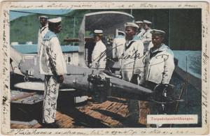 Pohlednice s motivem c. a k. námořnictva byla odeslána z vojenského lazaretu v Pule v roce 1915.
