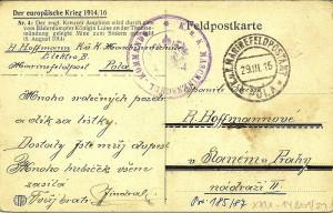 Polní lístek c. a k. námořnictva s razítkem námořního úřadu polní pošty v Pule a útvarovým razítkem K. u. k. Maschinenschule, 1916