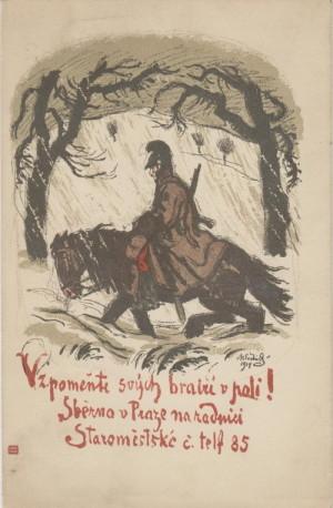 Vzpomeňte svých bratří v poli. Pohlednice s reprodukcí kresby Maxe Švabinského z roku 1914.