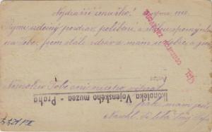 Korespondenční lístek ze srpna 1918 s italským cenzurním razítkem a razítkem cenzurní stanice ve Vídni. Lístek byl zabaven cenzurou kvůli zcela nevinnému textu.