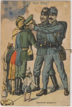 Válka a vítězství. Figurky vojáků bojujících zemí bylo možné na pohlednici rozpohybovat pomocí papírového proužku na její pravé straně.