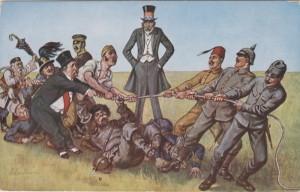 Rozložení sil ve válce. Na karikatuře vojáci Ústředních mocností úspěšně odolávají přesile nepřátel.