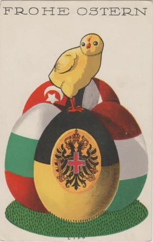 Velikonoční pohlednice Rakouského Červeného kříže s vajíčky v barvách vlajek spojeneckých zemí a znakem Rakousko-Uherska.