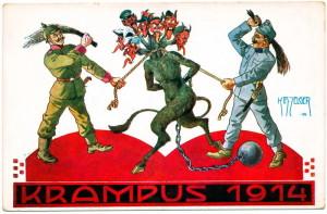 Krampus 1914. Vojáci Ústředních mocností vyplácejí mikulášskou nadílku čertům s hlavami zemí Dohody. Reprodukce podle K. H. Zelgera.