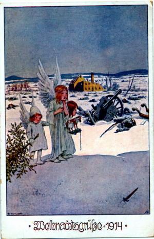 Německá vánoční pohlednice z roku 1914 podle originálu H. Kudrny.