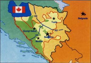 Prostor odpovědnosti 2. kanadské mnohonárodní brigády, v jejíž struktuře byl nasazen 6. mechanizovaný prapor AČR v operaci IFOR.