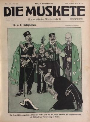 Hlavy států Balkánského svazu společně na karikatuře v rakouském týdeníku Die Muskete.