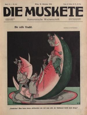 Státy nově utvořeného Balkánského svazu byly v Rakousku-Uhersku častým předmětem karikatur. Zde v rakouském týdeníku Die Muskete.