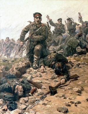 Útok na bodáky – vlastenecký obraz Jaroslava Věšína oslavuje hrdinství bulharské armády za balkánských válek. Je vystaven v erbovní hale na úřadě prezidenta Bulharska.