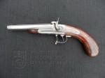 Pistole dvouhlavňová na náboje Lefaucheux se závěrem Lebeda, firma Lebeda, 60. léta 19. století