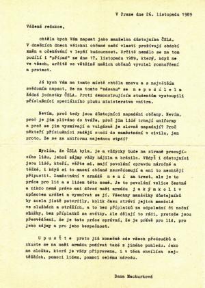 Dopis manželky důstojníka z povolání dokládá vzepětí negativních nálad proti armádě ve společnosti v týdnu po 17. listopadu. VHÚ