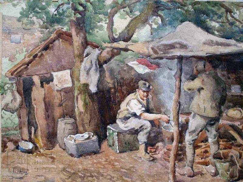 Břetislav Bartoš, Kuchyně výzvědné roty Astico, Itálie, 1918.
