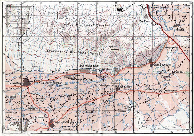 Mapa provincie Logar – operace ISAF Afghánistán