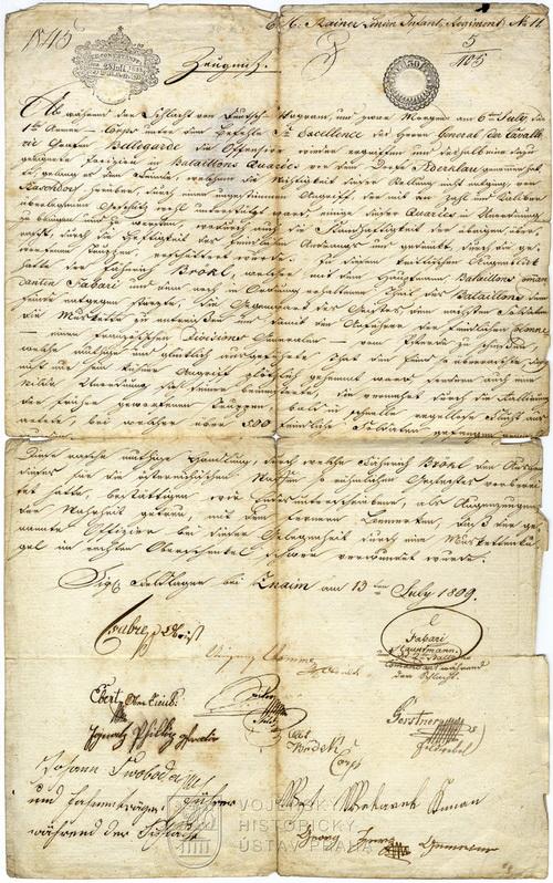 Potvrzení o hrdinském činu prap. Kryštofa Brökla během bitvy u Aspern a Esslingu