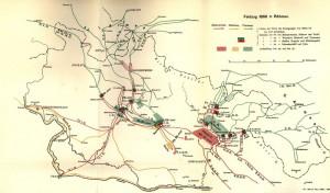 Mapa pruského tažení v Čechách až k bitvě u Hradce Králové.
