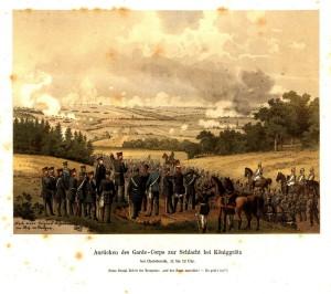 Příchod pruské 2. armády korunního prince, v tomto případě nastupuje do boje pruská královská garda.