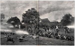 Pruská garda hájí Rozběřice.